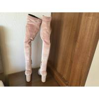 Aquazarra Pale Pink over knee velvet boots Angle5