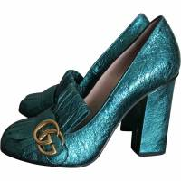 Gucci Marmont heels in metallic turquoise