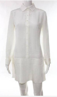 Christian Dior White button down pleated dress S/M