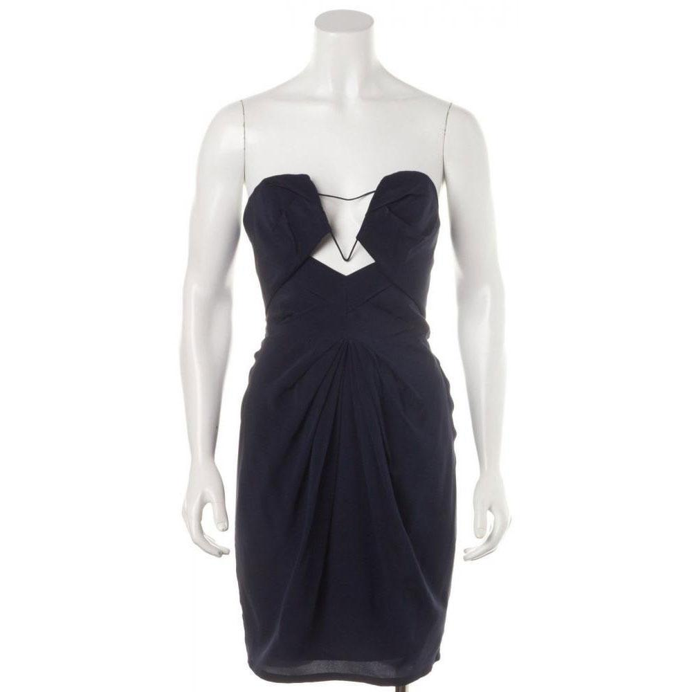Zimmermann Navy Silk Strapless Cutout Sheath Dress