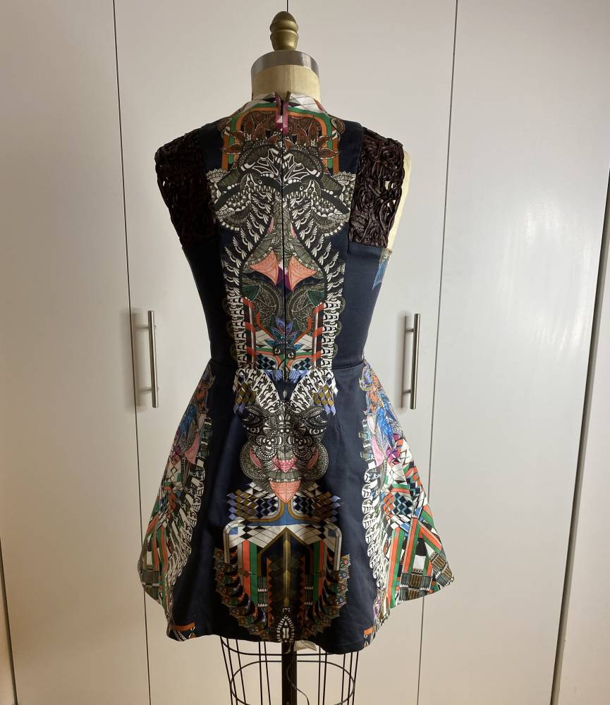 Alexis Lucio Lace-trimmed Printed Dress sz M