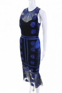 Nicole Miller Womens Blue Mesh Flutter Dress Sz 8 Angle2