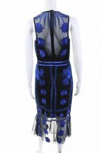 Nicole Miller Womens Blue Mesh Flutter Dress Sz 8 Angle3