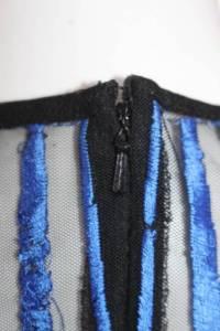Nicole Miller Womens Blue Mesh Flutter Dress Sz 8 Angle4