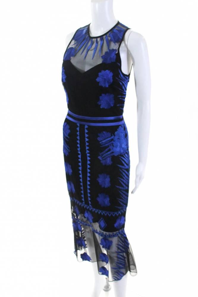 Nicole Miller Womens Blue Mesh Flutter Dress Sz 8