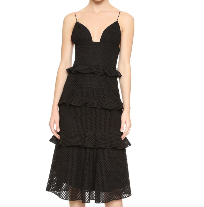 Cushnie Black Eyelet lace Sofia Dress V-neck sz 8