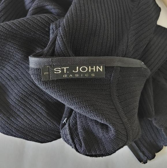 St. John Basics Santana Knit Mockneck Ribbed Top