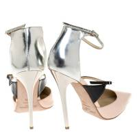 Jimmy Choo Beige Silver Leather pumps Angle4
