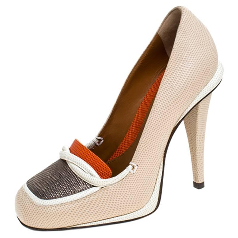 Fendi Color Block Penny Loafers