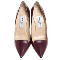 Jimmy Choo Wine pumps with tongue cutout front Angle5