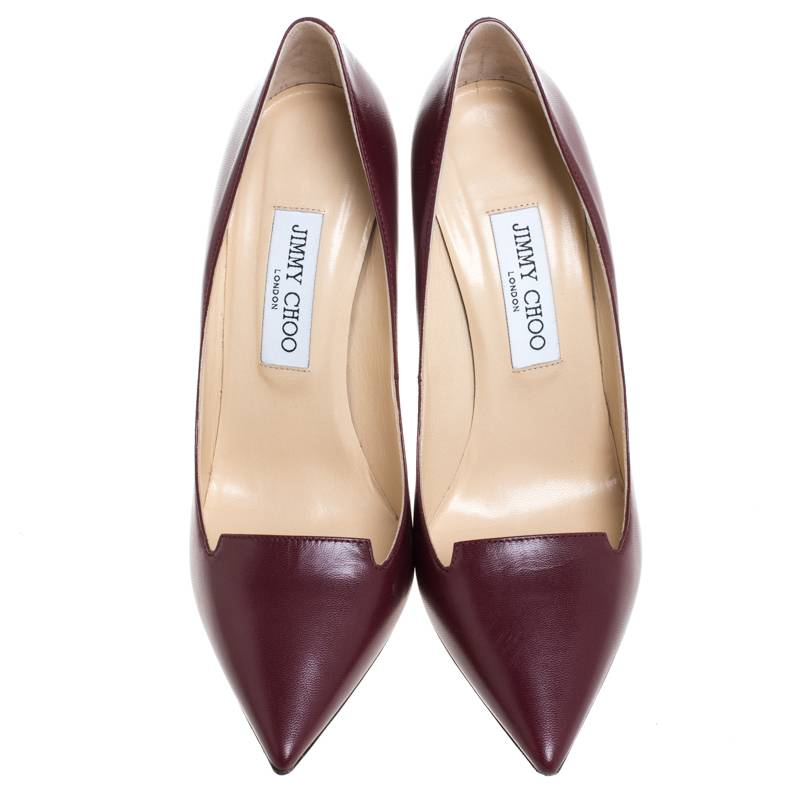 Jimmy Choo Wine pumps with tongue cutout front