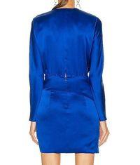 $759 Michelle Mason Mini Faux Wrap dress Blue NWT Angle3