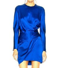 $759 Michelle Mason Mini Faux Wrap dress Blue NWT
