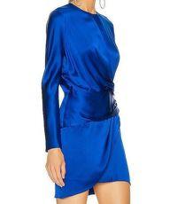 $759 Michelle Mason Mini Faux Wrap dress Blue NWT Angle4
