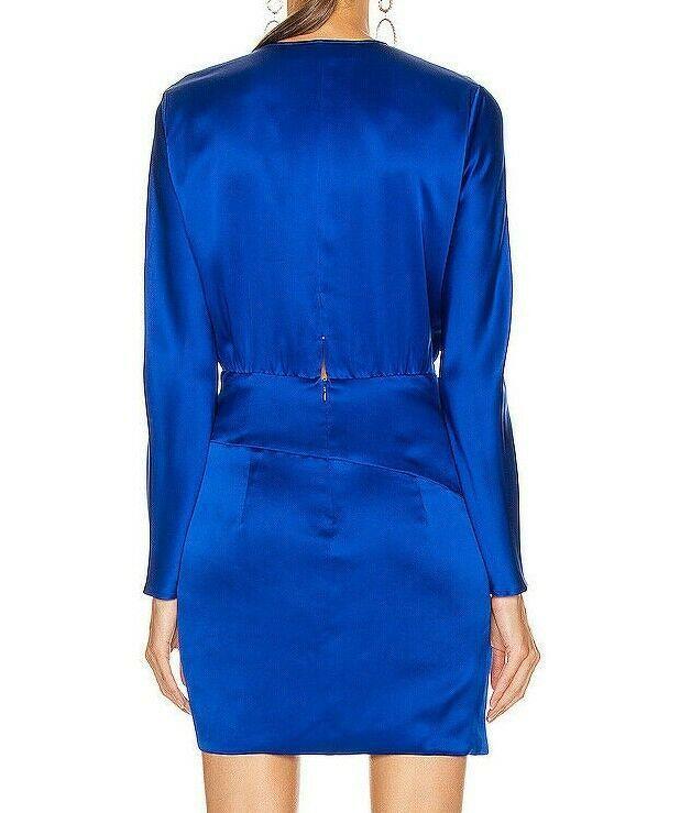 $759 Michelle Mason Mini Faux Wrap dress Blue NWT