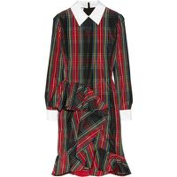 Moschino Plaid Taffeta Ruffle Dress Runway $1795 Angle2