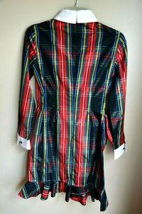 Moschino Plaid Taffeta Ruffle Dress Runway $1795 Angle3