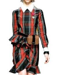 Moschino Plaid Taffeta Ruffle Dress Runway $1795 Angle1