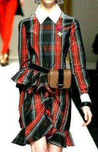 Moschino Plaid Taffeta Ruffle Dress Runway $1795 Angle4