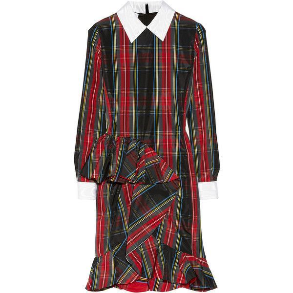 Moschino Plaid Taffeta Ruffle Dress Runway $1795