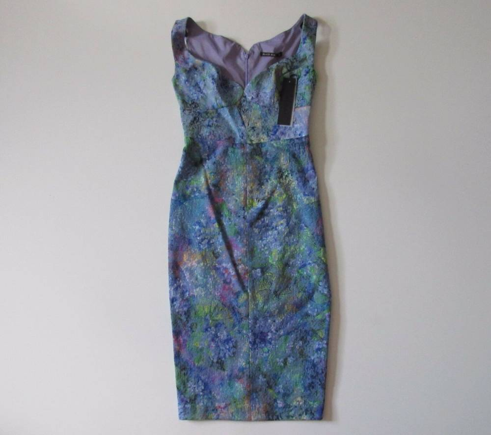 floral print bodycon black halo dress NWT
