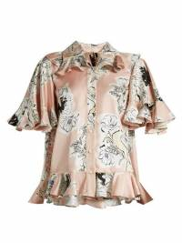 Roksanda Print Silk Georgette W/Ruffle top Angle1