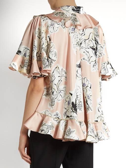 Roksanda Print Silk Georgette W/Ruffle top