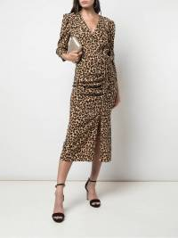 Veronica Beard Leopard Silk wrap dress like new  Angle3