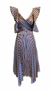 Self Portrait Stripe Dress, Pink and Black Size 0 Angle1