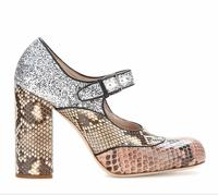 Miu Miu snakeskin and glitter baby doll pumps