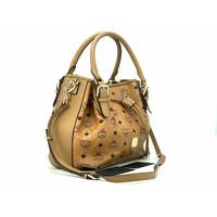 MCM Visetos shoulder bag cognac color Angle4