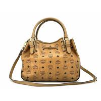 MCM Visetos shoulder bag cognac color Angle6