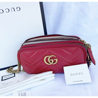 Gucci GG Marmont Flap Bag Mini Leather in Red