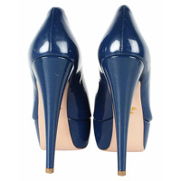 Prada Sandals Leather in Blue Angle4