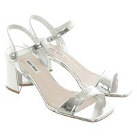Miu Miu Sandals Patent leather in Silvery