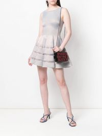 ALAÏA SILVER FLARED DRESS Angle2