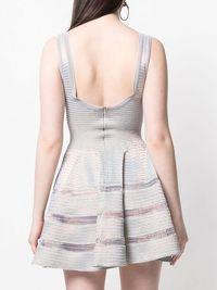ALAÏA SILVER FLARED DRESS Angle4