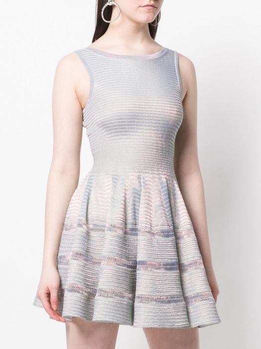 ALAÏA SILVER FLARED DRESS