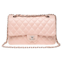 Chanel Classic Flap Bag Leather in Pink Angle1