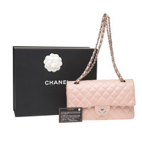 Chanel Classic Flap Bag Leather in Pink Angle4
