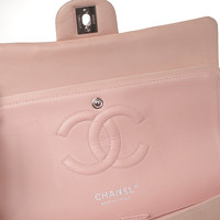 Chanel Classic Flap Bag Leather in Pink Angle5