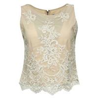 Alice And Olivia Lace Top in Nude