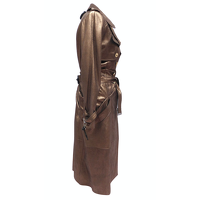 Christian Dior Jacket/Coat Leather in Brown Angle2
