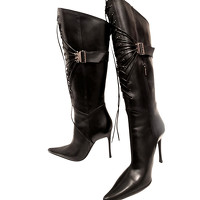 Casadei Boots Leather in Black Angle1