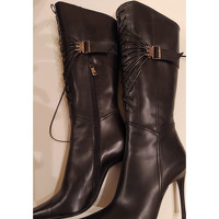 Casadei Boots Leather in Black Angle3
