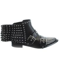 Alexander McQueen Leather Emblisshed Ankle Boots Angle3