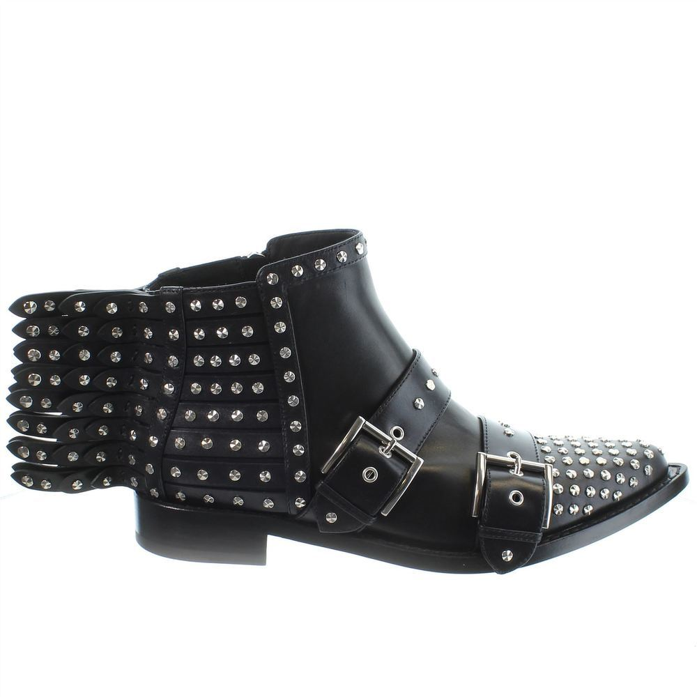 Alexander McQueen Leather Emblisshed Ankle Boots