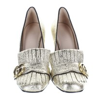 Gucci Gold Leather Heels Angle2