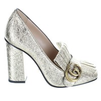 Gucci Gold Leather Heels Angle3