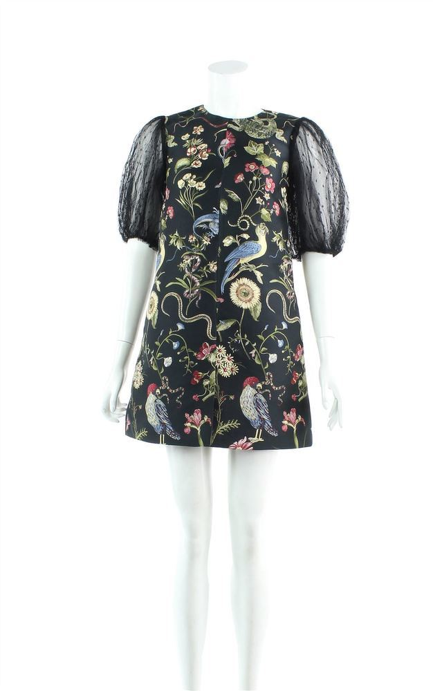 Red Valentino Jacquard Tulle Sleeves mini dress.